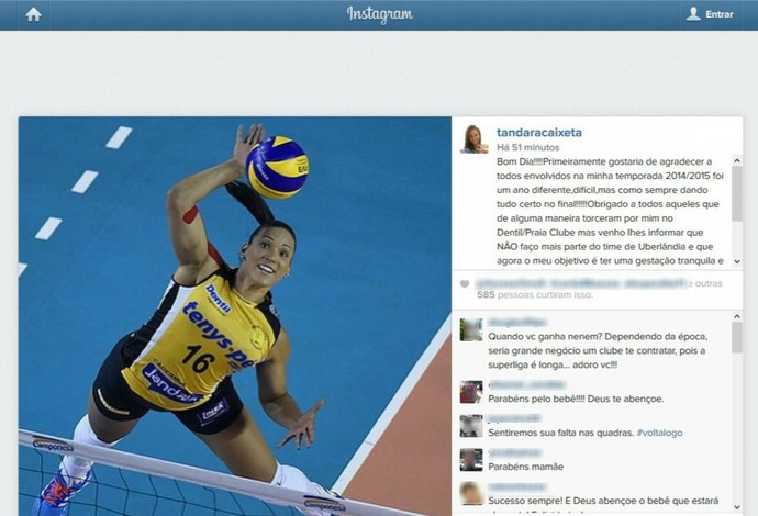 Tandara se despede do Praia Clube e afirma: 'Não faço mais parte do time' (Foto: Reprodução/Instagram)