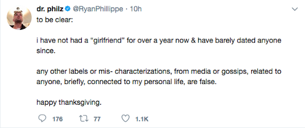 A mensagem compartilhada pelo ator Ryan Phillippe (Foto: Twitter)