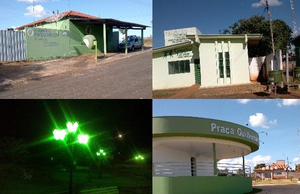Prefeito de Palestina de Goiás pintou a cidade de verde, cor de seu partido político (Foto: Reprodução/TV Anhanguera)