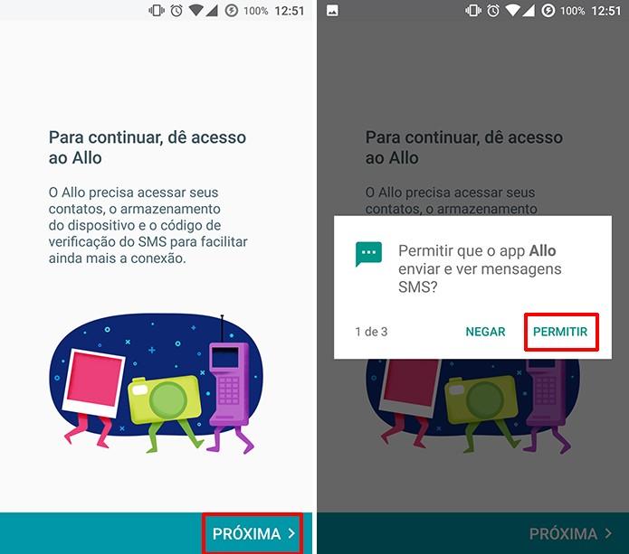 Google Allo solicita permissão para ter acesso a SMS e outros dados do dispositivo (Foto: Reprodução/Elson de Souza)