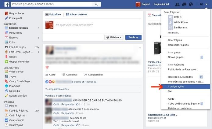 Destaque para menu de configurações do Facebook web (Foto: Reprodução/Raquel Freire)