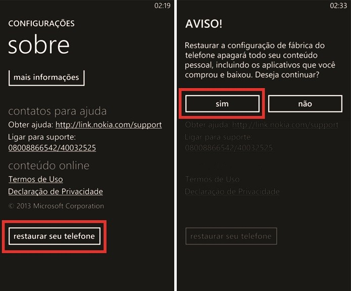 Windows Phone pode ser restaurado após a confirmação de alertas do sistema (Foto: Reprodução/Elson de Souza)