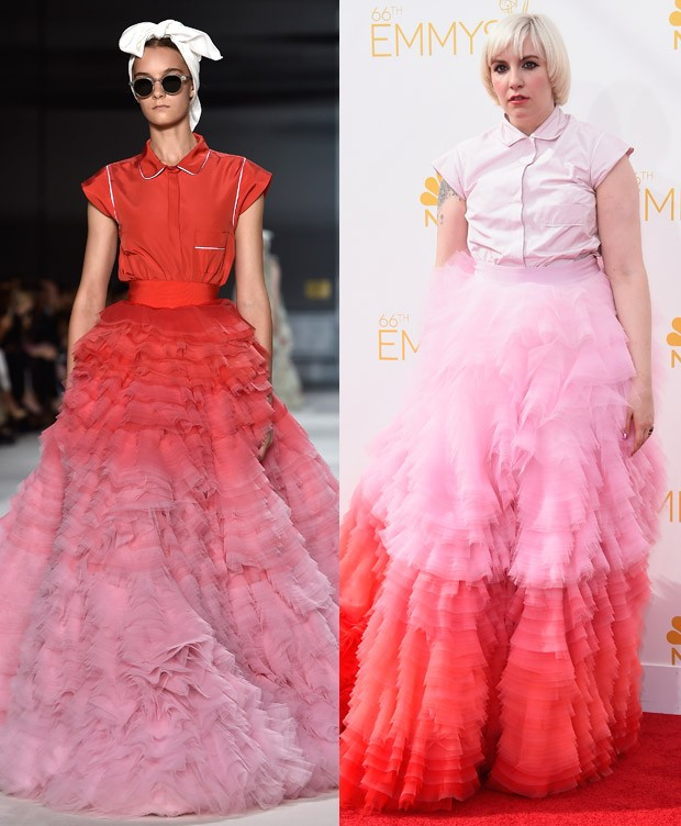 Lena Dunham de Giambattista Valli no Emmy Awards 2014 (Foto: Getty Images)