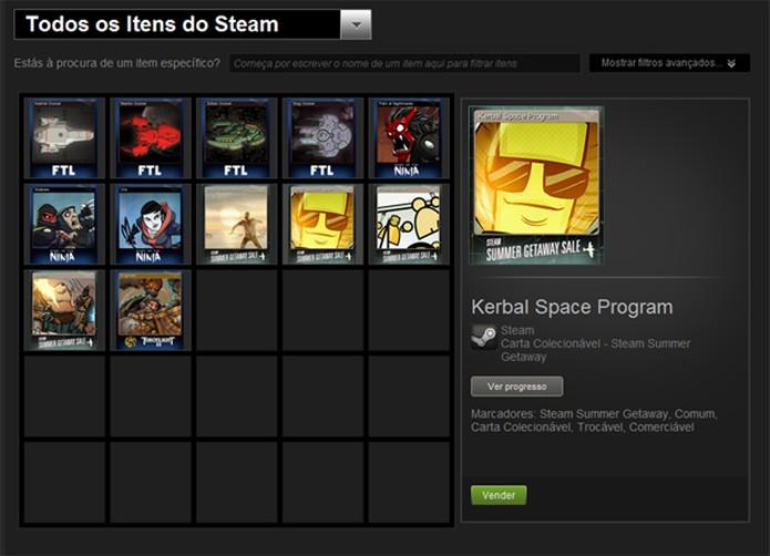 O Steam permite vender cartas e objetos virtuais para outros jogadores (Foto: Reprodução/Felipe Vinha)