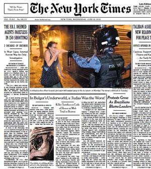 Reprodução da capa do 'New York Times' (Foto: Reprodução)
