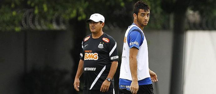 Muricy e Felipe Anderson (Foto: Ricardo Saibun / Divulgação SantosFC)