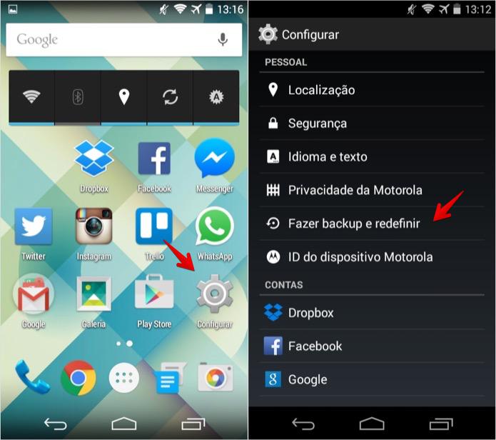 Acesse as configurações de backup do Android (Foto: Reprodução/Helito Bijora)