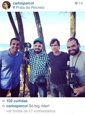 Da esquerda para a direita: Carlos Percol, Marcelo Lyra, o surfista Carlos Burle e Alexandre Severo (Foto: Reprodução/Instagram)