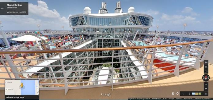 Imagem panorâmica do maior navio de cruzeiros do mundo, pelo Google Street View (Foto: Reprodução/Paulo Finotti)