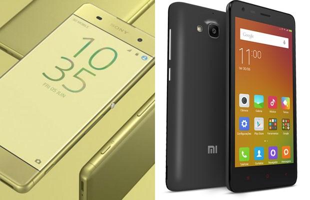 Smartphones Xperia X, da Sony, e Redmi 2 Pro, da Xiaomi. (Foto: Divulgação/Sony; Divulgação/Xiaomi)