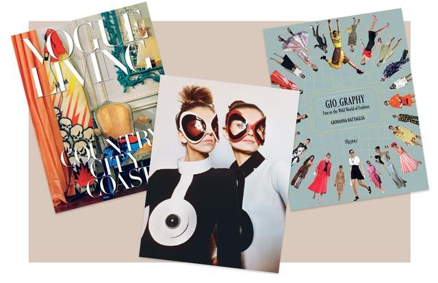 Os livros Vogue Living, Pierre Cardin e Gio_Graphy, alguns dos ótimos lançamentos do semestre (Foto:  Archives Pierre Cardin, The Guy Bourdin Estate, 2017, Mathieu Ridelle e Divulgação)