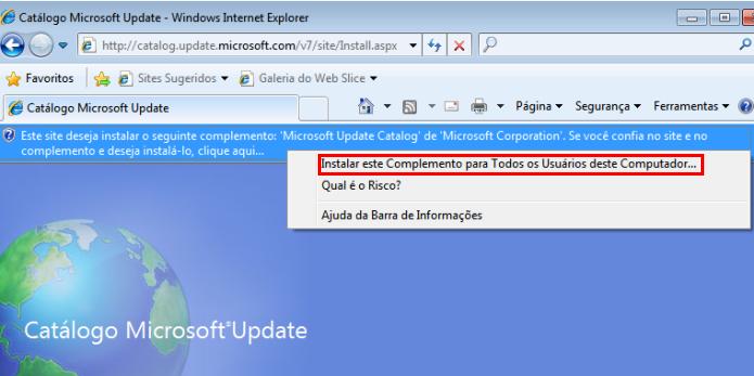 Acessando o Microsoft Update Catalog e instalando um plugin (Foto: Reprodução/Edivaldo Brito)