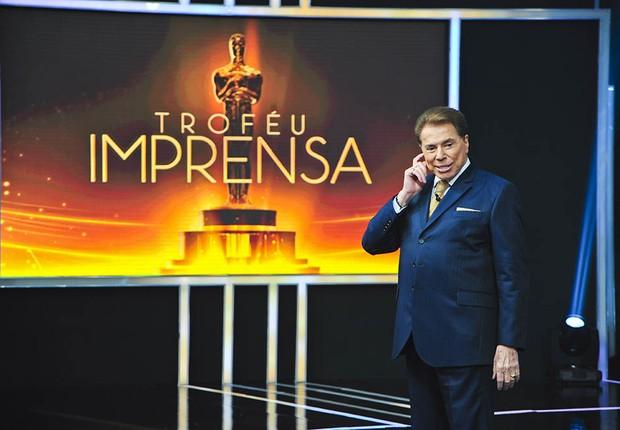 O apresentador Silvio Santos durante entrega do Troféu Imprensa (Foto: Reprodução/Facebook)