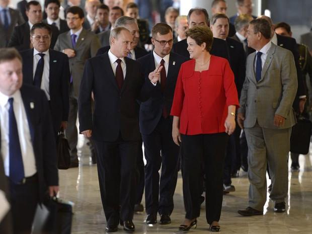 A presidente Dilma Rousseff e o presidente russo Vladimir Putin no Palácio do Planalto (Foto: Wilson Dias / Agência Brasil)