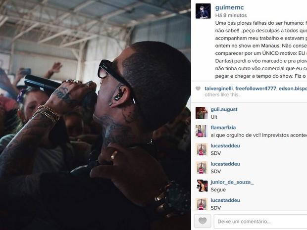 MC Guimê se desculpou com público em rede social (Foto: Reprodução/Instagram)