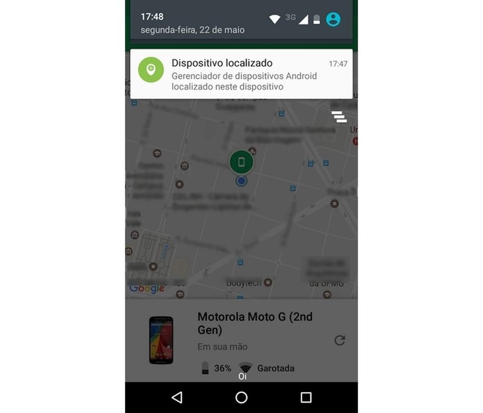 Celular Android encontrado com app Localizar o meu dispositivo  (Foto: Reprodução/Raquel Freire)