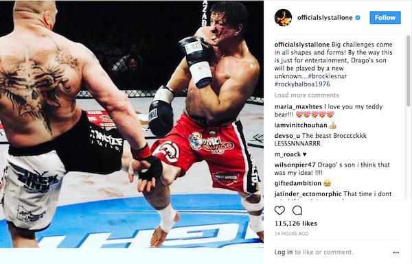 O post no qual Sylvester Stallone sugere que o filho de Ivan Drago será vivido pr Brock Lesnar (Foto: Instagram)
