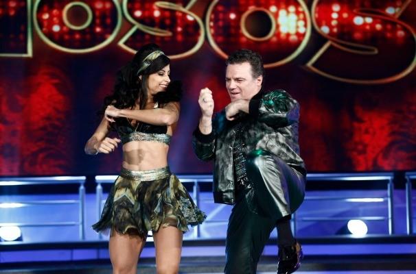 Adriano Garib e Aline Riscado nos passos do Baladão Dance  (Foto: Inácio Moraes/ TV Globo)