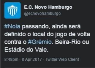 Twitter do Novo Hamburgo divulga informação sobre jogo de volta (Foto: Reprodução / Twitter)