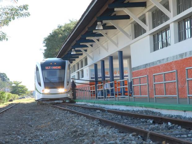 Moradores e turistas podem visitar o protótipo do VLT de Macaé na Estação Central (Foto: Divulgação / Prefeitura de Macaé)