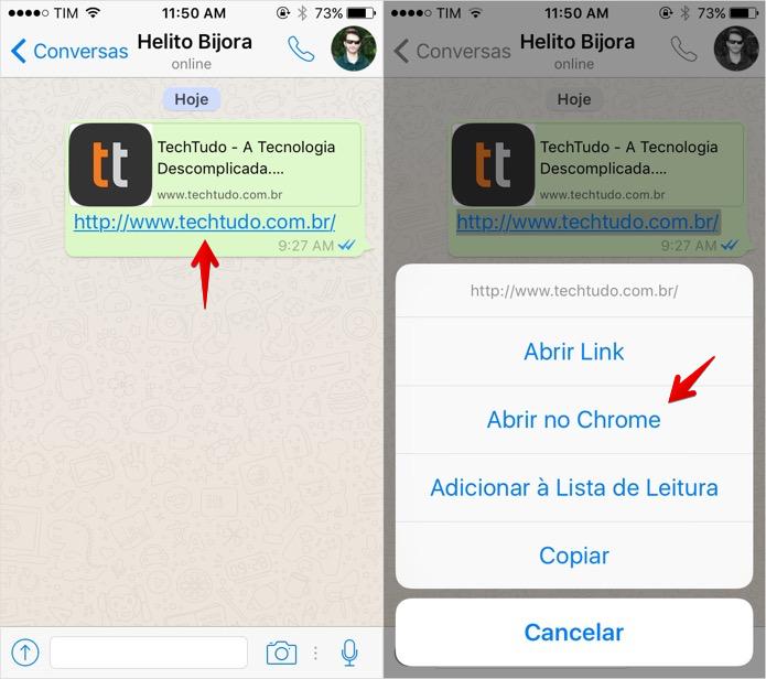 Abrindo um link do WhatsApp no Chrome (Foto: Reprodução/Helito Bijora)