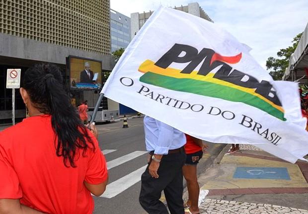 Militante segura bandeira do PMDB (Foto: Divulgação)