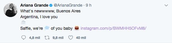 A mensagem de Ariana Grande em homenagem à fã que morreu em seu show em Manchester (Foto: Twitter)
