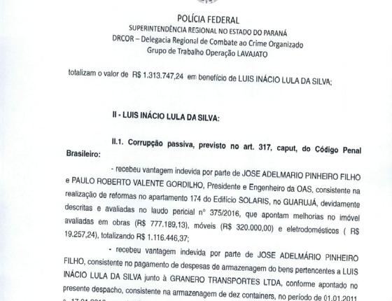 Trecho do indiciamento de Lula pela Polícia Federal (Foto: reprodução)