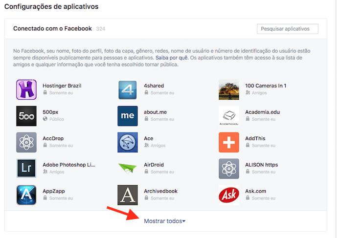 Acesso à tela de todos os aplicativos vinculados em uma conta do Facebook (Foto: Reprodução/Marvin Costa)
