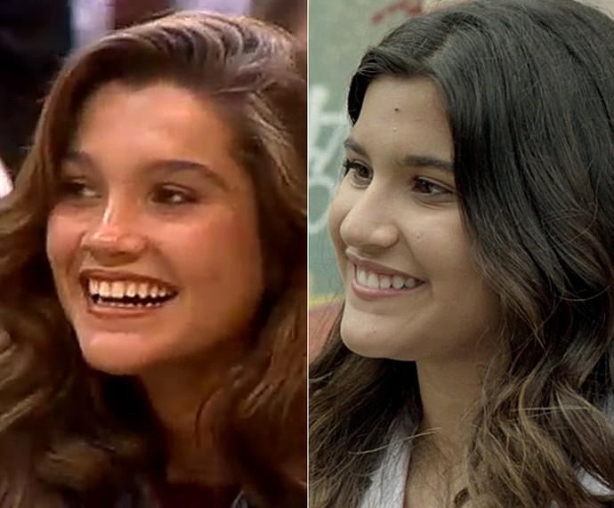 Flávia Alessandra aos 14 anos e Giulia Costa aos 16: parecidas! (Foto: TV Globo)
