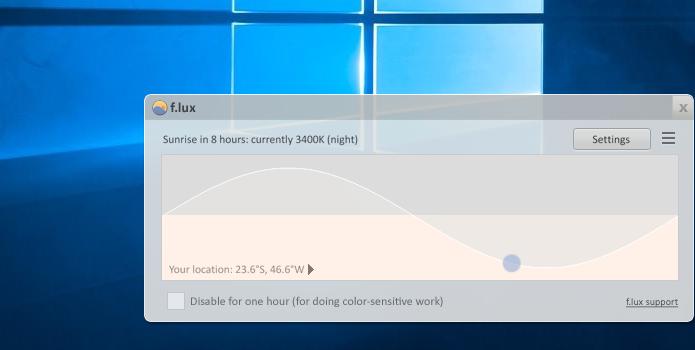 F.lux ajusta luz azul da tela dependendo da hora do dia (Foto: Reprodução/Paulo Alves)