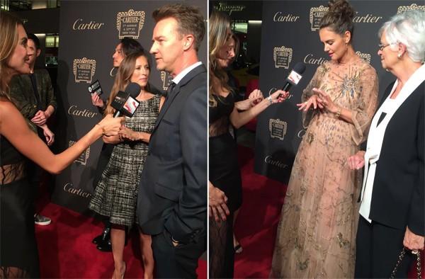 Marília entrevistando Edward Norton e Katie Holmes em Nova York (Foto: Divulgação)