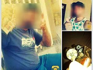 O rapaz mostrava a arma e o dinheiro na internet. (Foto: Reprodução/ Facebook)
