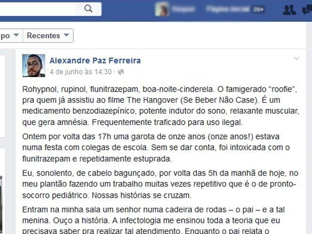 Relato do médico Alexandre Paz Ferreira, que atendeu adolescente após suposto estupro coletivo em hospital de Brasília (Foto: Facebook/Reprodução)