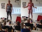 Professora 'tira a roupa' para explicar estruturas internas do corpo humano