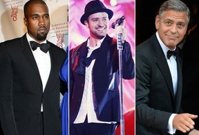 Justin Timberlake, George Clooney e Kanye West (Foto: Getty Images)