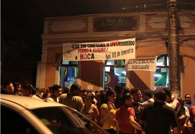 Lançamento da marchinha da 'Banda da Bica' ocorreu nesta quinta (10), em Centro de Manaus  (Foto: Marcos Dantas/ G1 AM)