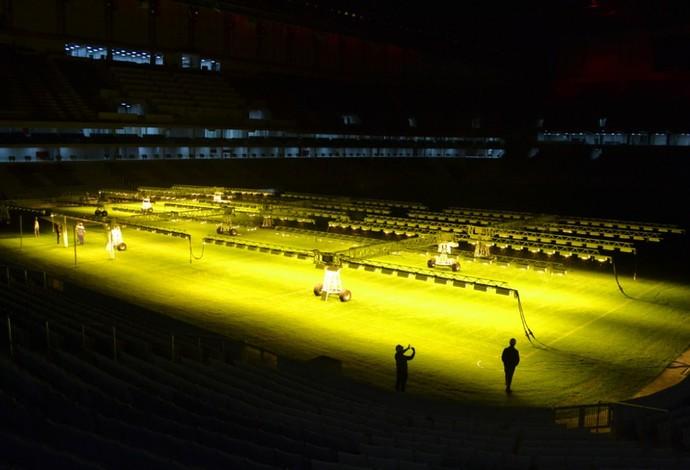 Atlético-PR usa iluminação artificial na Arena da Baixada (Foto: Site oficial do Atlético-PR/Mauricio Mano)