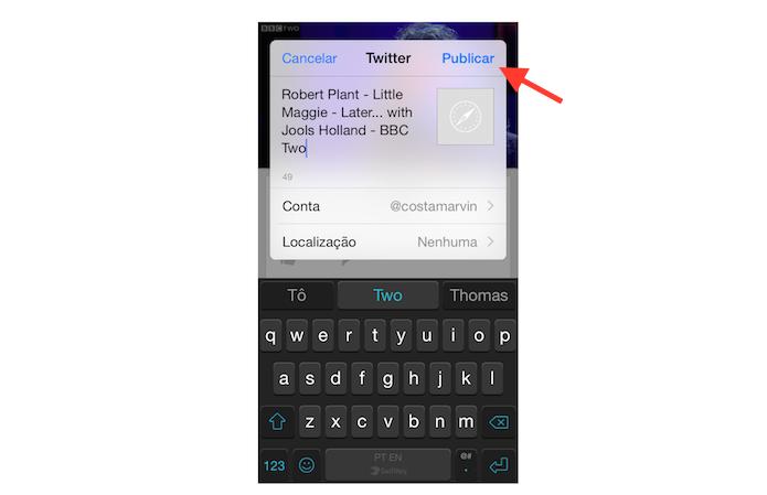 Publicando um vídeo no Twitter através do aplicativo do YouTube para iPhone (Foto: Reprodução/Marvin Costa)