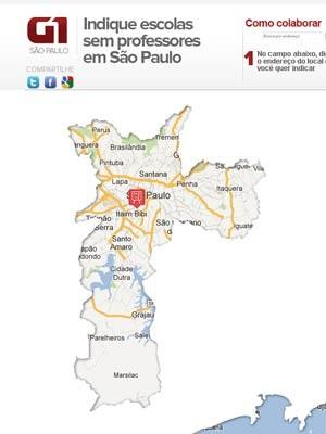 Indique onde faltam professores na rede pública de São Paulo (Foto: Reprodução/Arte/G1)