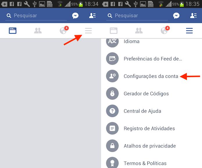 Caminho até as configurações da conta no Facebook para Android (Foto: Reprodução/Marvin Costa) (Foto: Caminho até as configurações da conta no Facebook para Android (Foto: Reprodução/Marvin Costa))