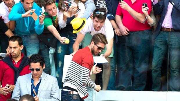 Sergio Ramos torneio tênis Madrid (Foto: Splash News)