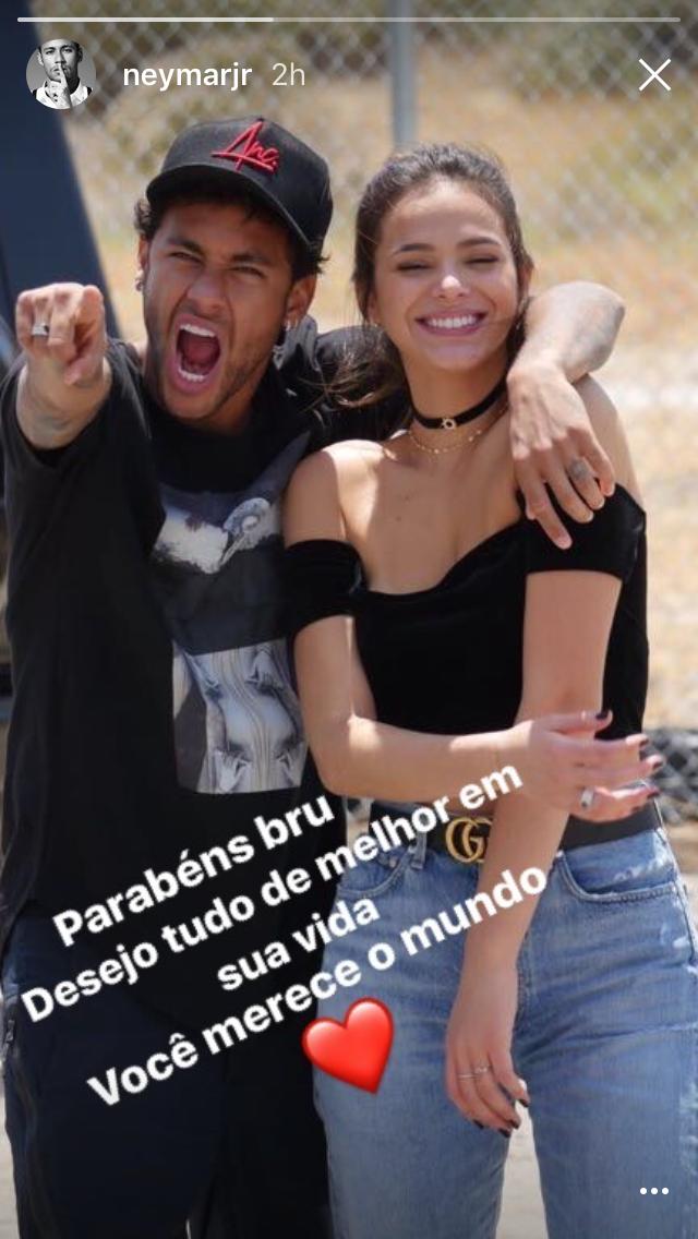 Neymar homenageou a ex, Bruna Marquezine, em seu Instastories (Foto: reprodução/instagram)
