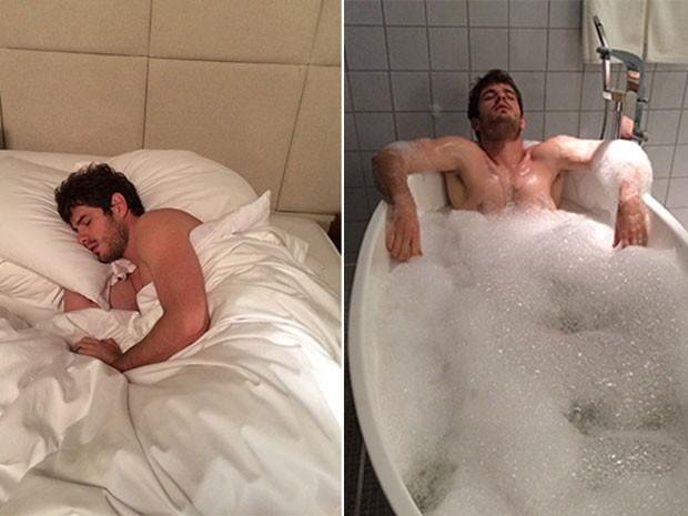 Margot clica Benjamin dormindo e tomando banho (Foto: TV Globo)