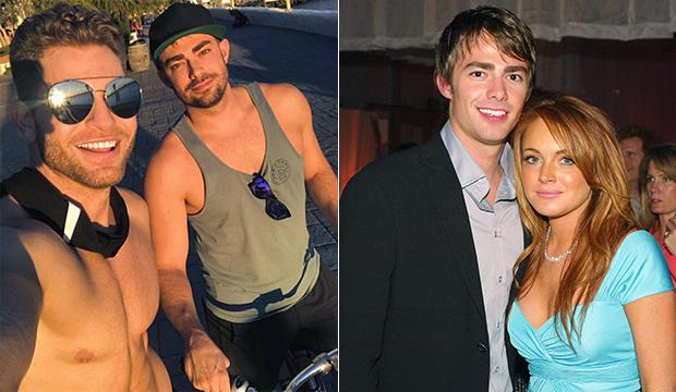 À esquerda, Jonathan Bennett e o namorado, Jaymes Vaughan. Á diretia, o ator com Lindsay Lohan (Foto: Reprodução/ Instagram/ Getty Images)