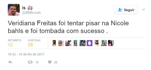 Briga de Nicole Bahls e Veridiana Freitas agita internet (Foto: Reprodução/Twitter)