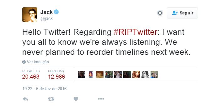 CEO do Twitter negou mudanças na timeline (Foto: Reprodução/Twitter)