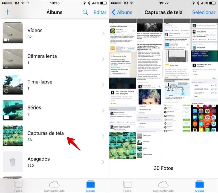 Acessando álbum de capturas de tela (Foto: Reprodução/Helito Bijora)