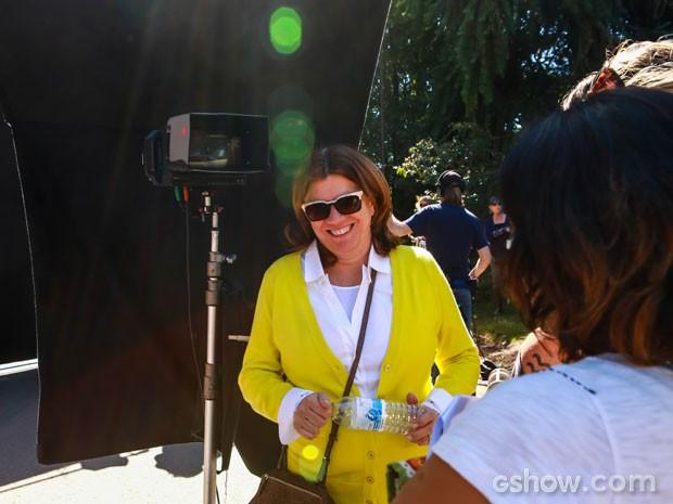 Denise, durante as gravações das primeiras cenas de Geração Brasil na Califórnia (Foto: Aline Kras/TV Globo)
