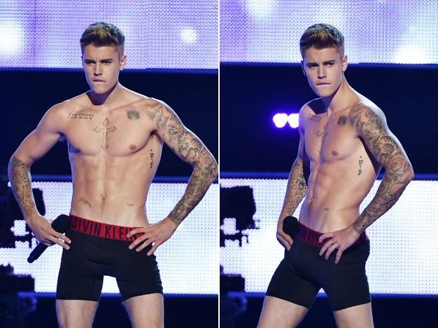 O cantor Justin Bieber, só de cueca após o strip-tease no palco do Fashion Rocks, em Nova York, nesta terça-feira (9) (Foto: Theo Wargo/Getty Images for Three Lions Entertainment/AFP)